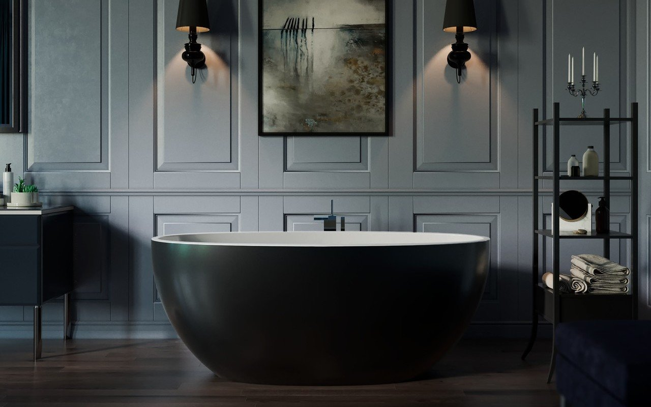 Aquatica Sensuality™ Mini-F-Black-Wht Freestanding Solid Surface Bathtub