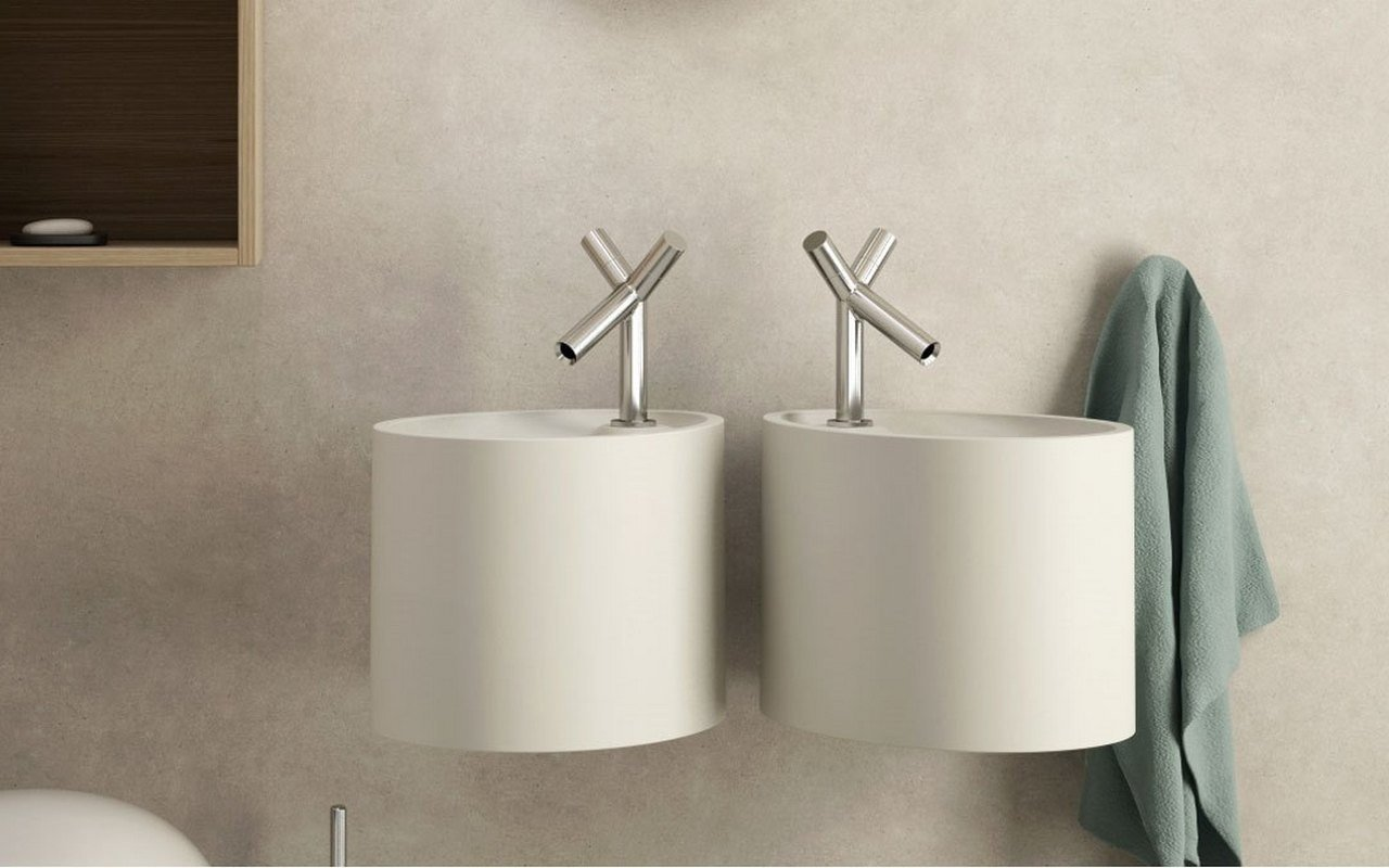 Aquatica OVO Pillar Wall Stone Bathroom Sink 04