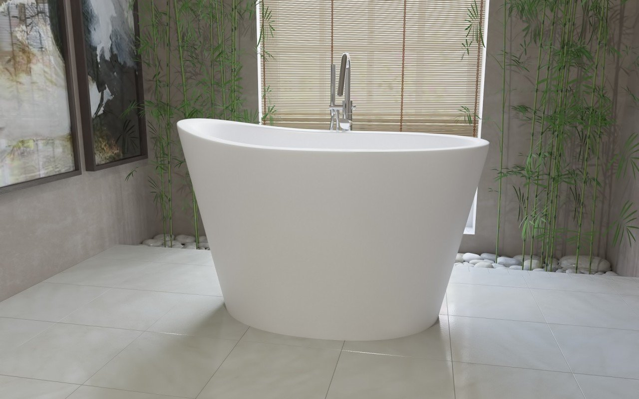 aquatica true ofuro freestanding stone japanese soaking bathtub -  view