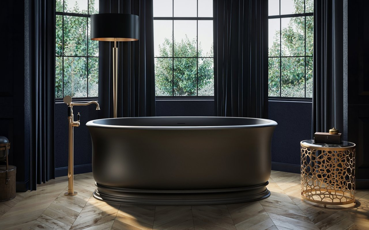 Aquatica Aphrodite Black Freestanding Solid Surface Bathtub picture № 0