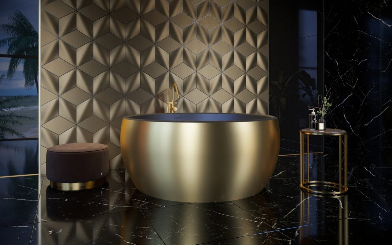 Aquatica Aura Yellow Gold-Blck Round Freestanding Solid Surface Bathtub picture № 0