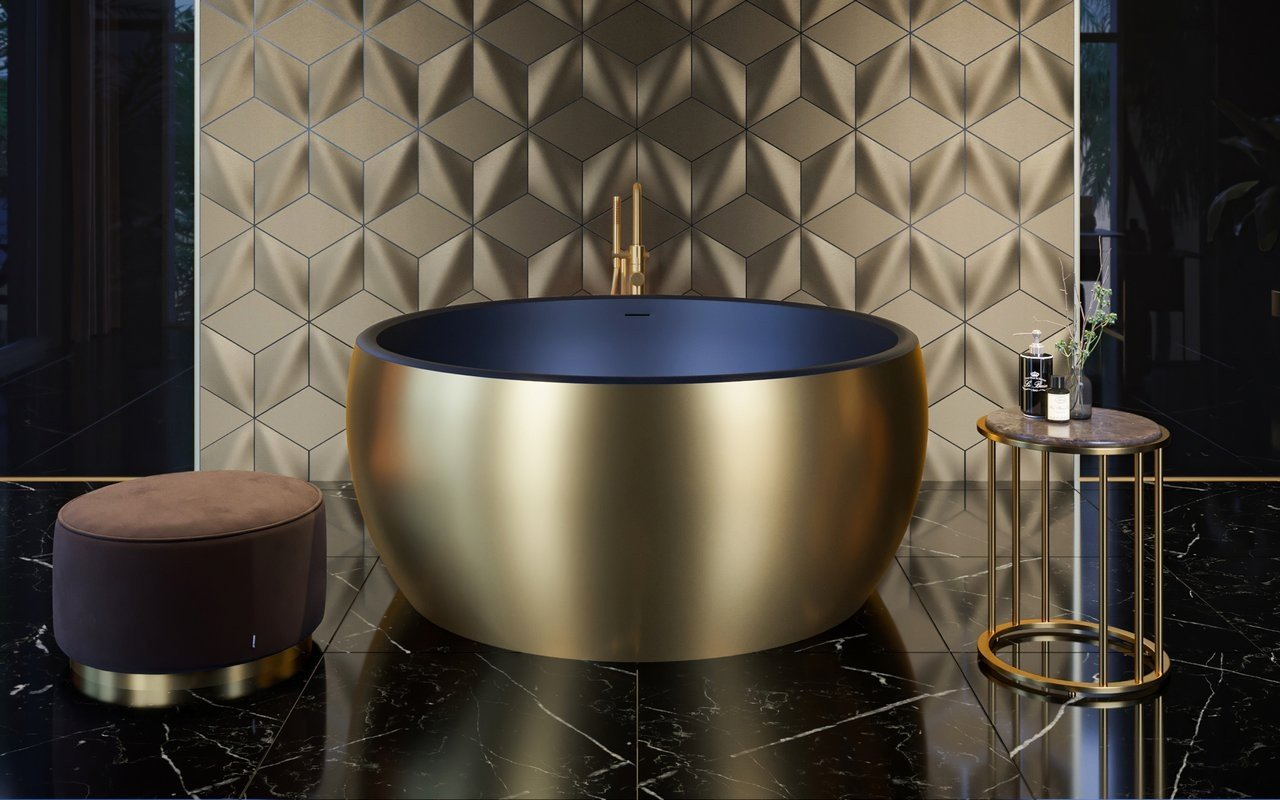 Aquatica Aura Mini Yellow Gold-Blck Round Freestanding Solid Surface Bathtub picture № 0