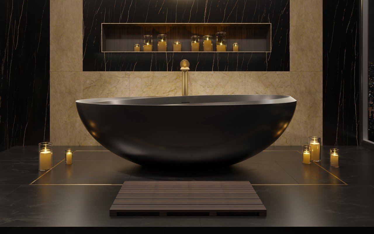 Aquatica Illusion Graphite Black Freestanding Solid Surface Bathtub picture № 0