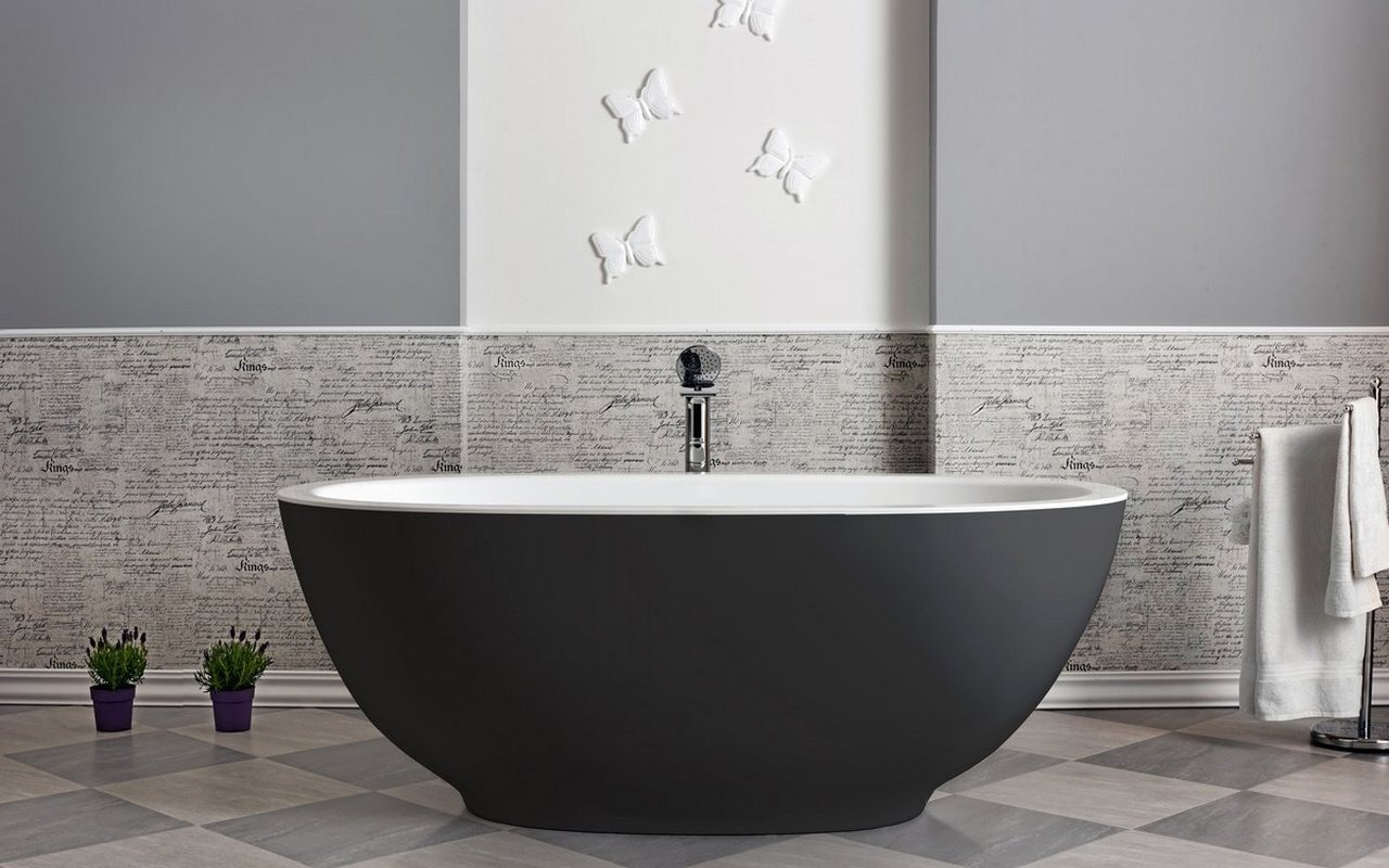 Aquatica Karolina 2 Blck-Wht Freestanding Solid Surface Bathtub picture № 0
