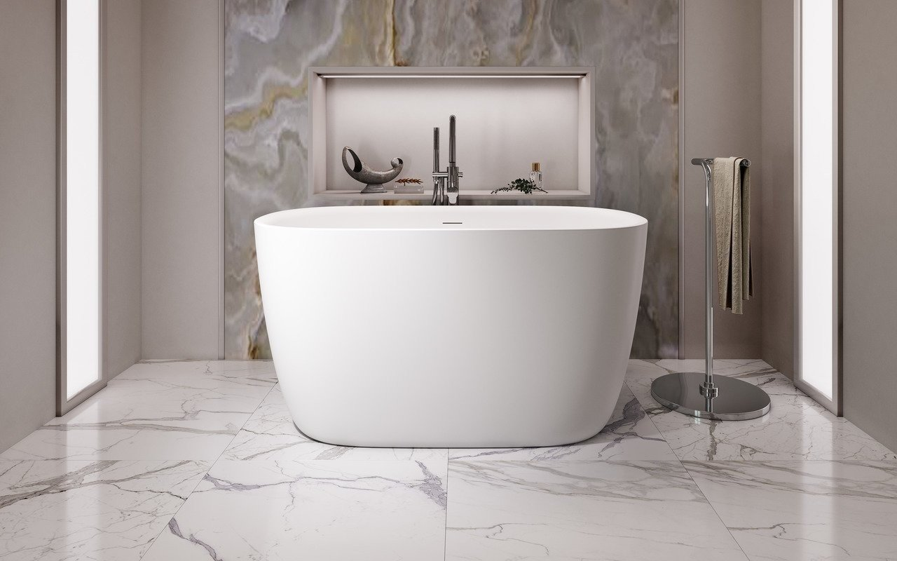 Aquatica Lullaby 2-Wht Small Freestanding Solid Surface Bathtub picture № 0