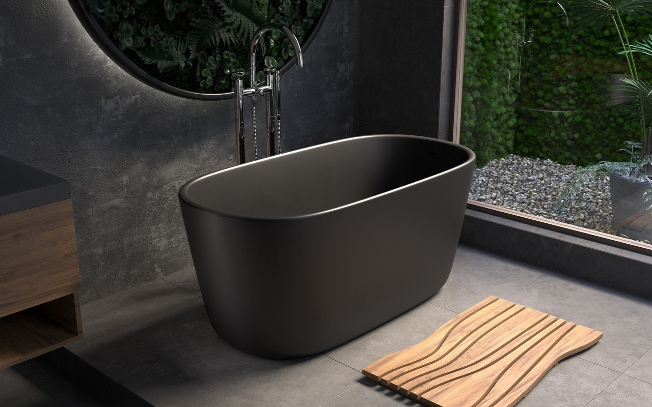 Aquatica Lullaby-Mini™ Graphite Black Freestanding Solid Surface Bathtub picture № 0