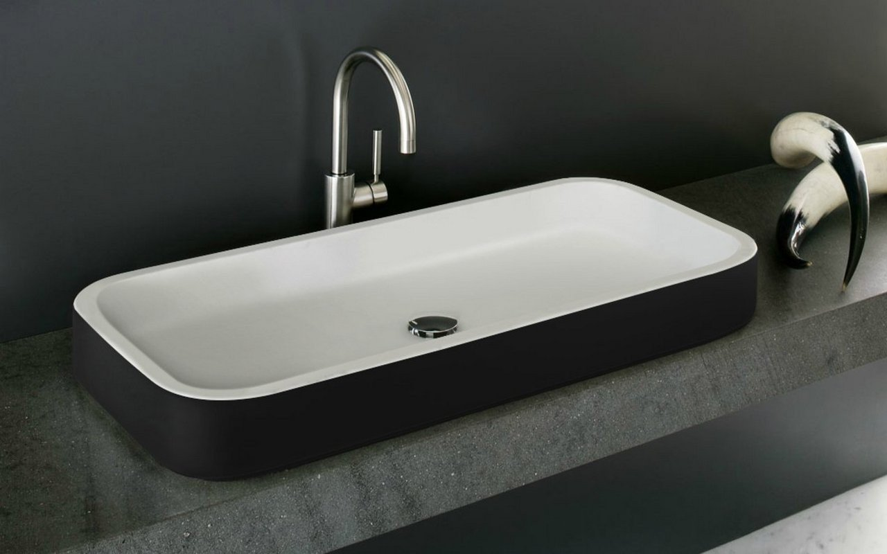 Aquatica Solace-B-Blck-Wht Rectangular Stone Bathroom Vessel Sink picture № 0