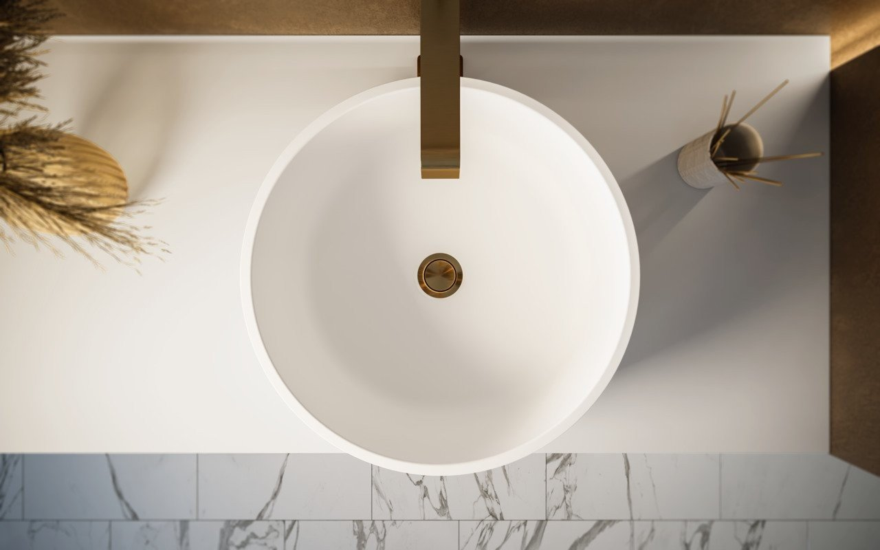 Aquatica Solace-B-Blck-Wht Round Stone Bathroom Vessel Sink picture № 0