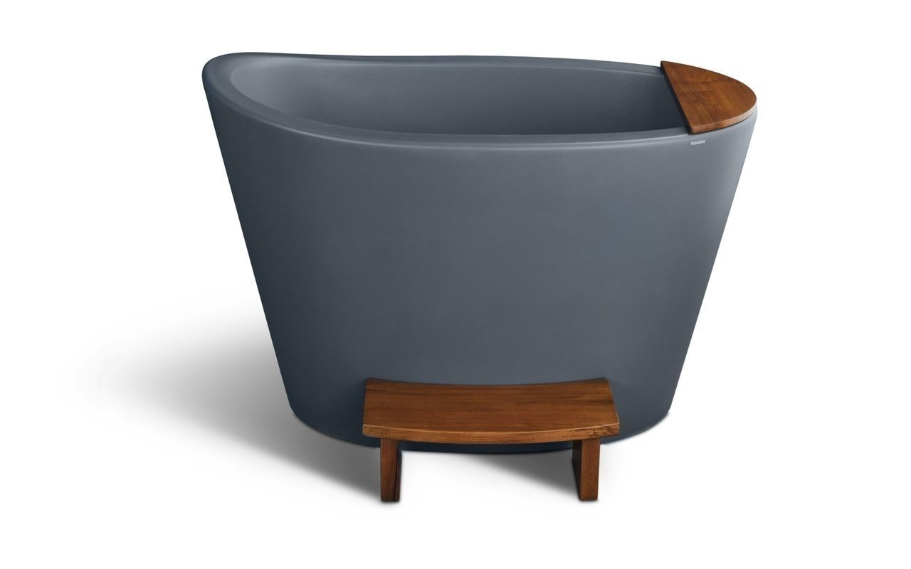 Aquatica True Ofuro Concrete Textures Freestanding Stone Japanese Soaking Bathtub picture № 0