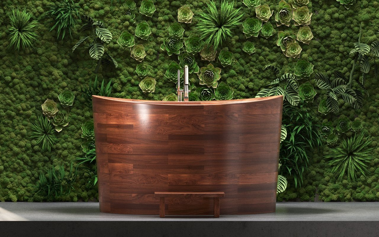 Aquatica True Ofuro Duo Wooden Freestanding Japanese Soaking Bathtub picture № 0