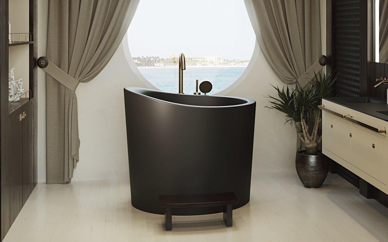 Aquatica True Ofuro Mini Black Freestanding Stone Japanese Soaking Bathtub picture № 0