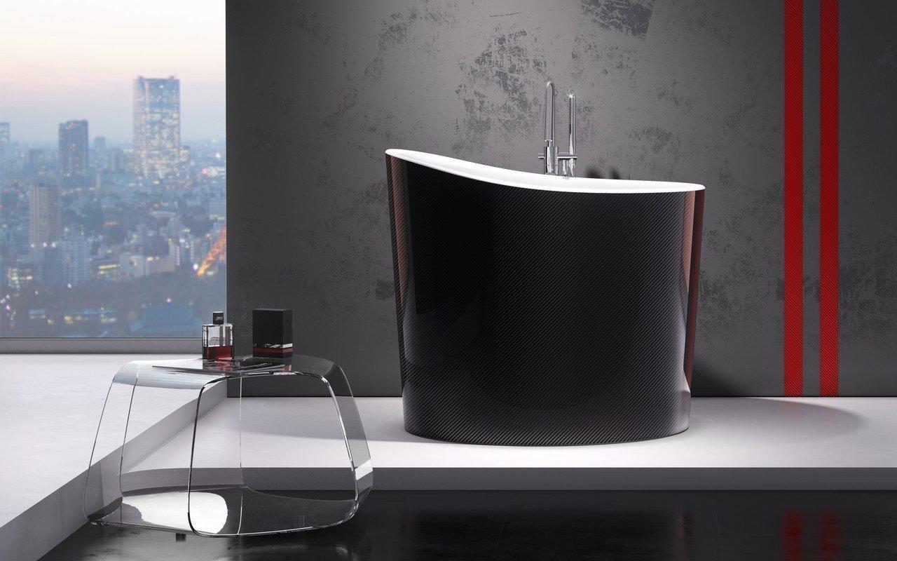 Aquatica True Ofuro Mini Carbon-Wht Freestanding Stone Japanese Soaking Bathtub picture № 0