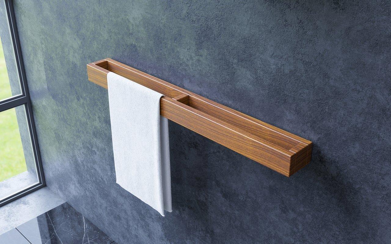 "Aquatica Universal 32"" Waterproof Wall Mounted Iroko Wood Towel Rack picture № 0"