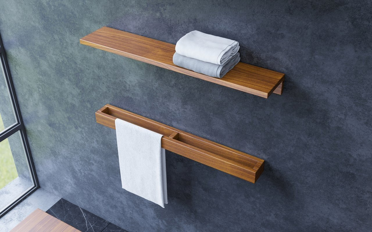 Aquatica Universal 32 Waterproof Wall Mounted Iroko Wood Towel Rack 02 (web)