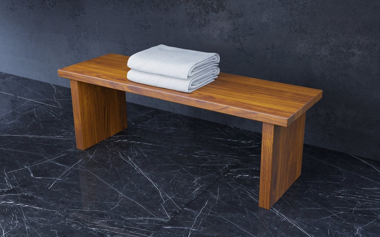 "Aquatica Universal 39.25"" Waterproof Iroko Wood Bathroom Bench picture № 0"