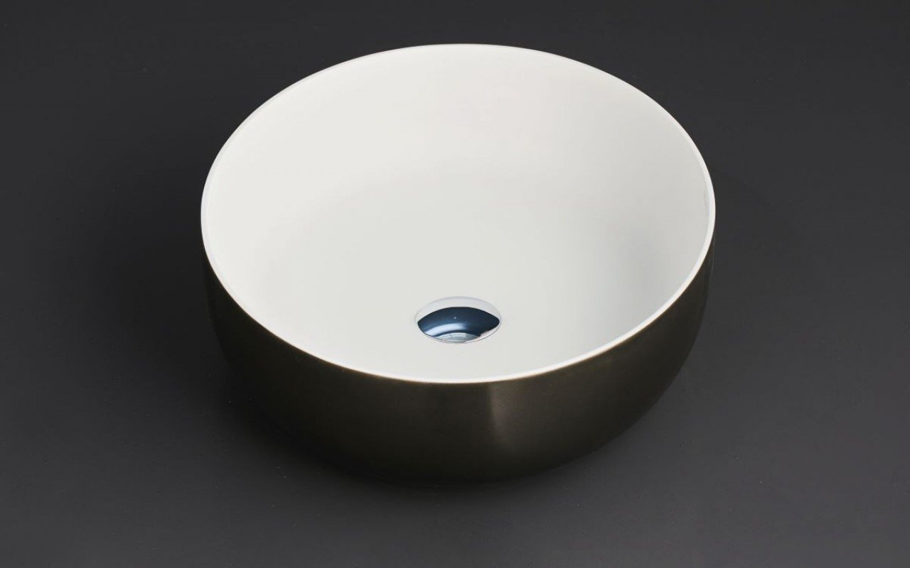 Aquatica Aurora Gunmetal-Wht Supergloss Round Stone Bathroom Vessel Sink picture № 0