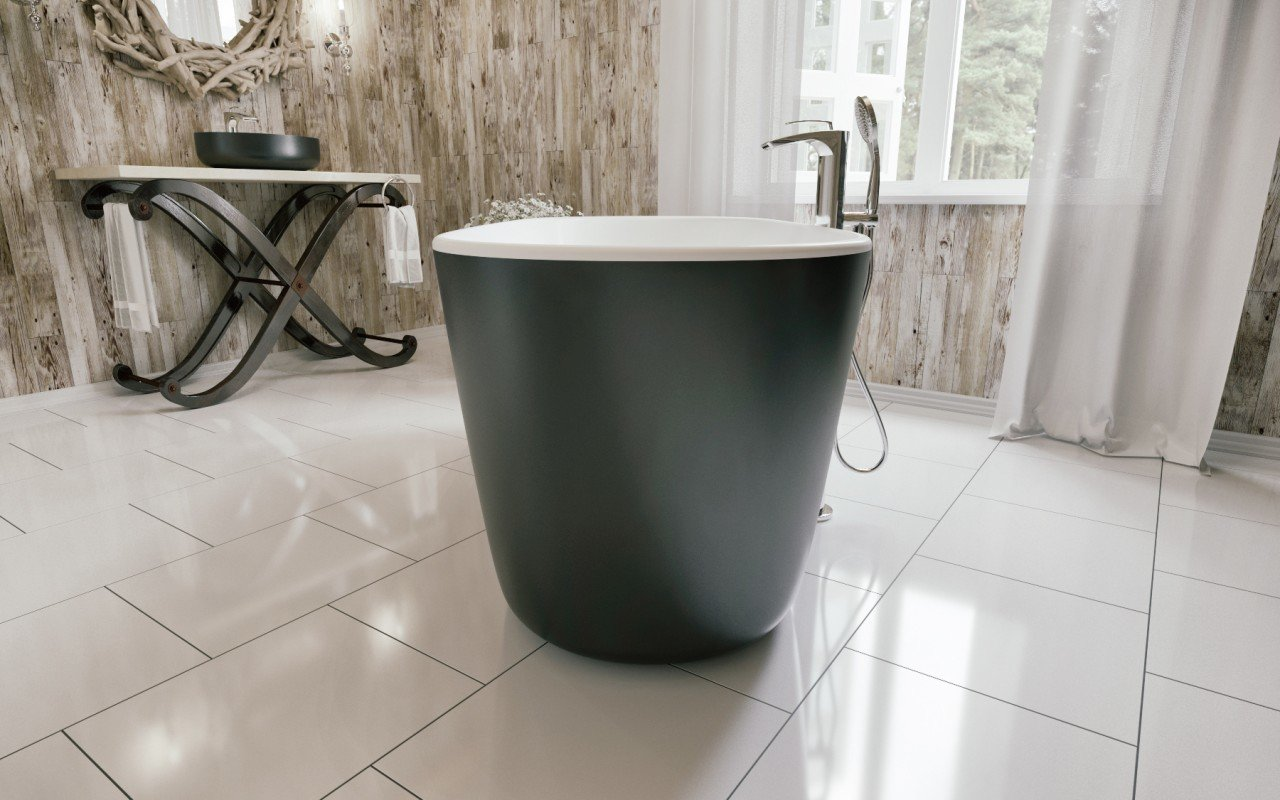 Lullaby Blck Wht Freestanding Solid Surface Bathtub by Aquatica (4)