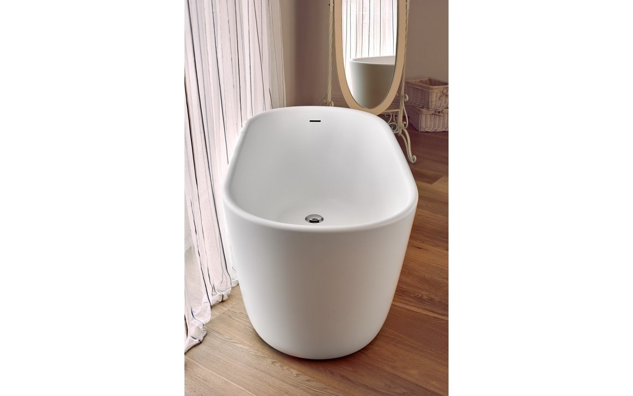 Lullaby Wht Small Freestanding Solid Surface Bathtub by Aquatica web 0049