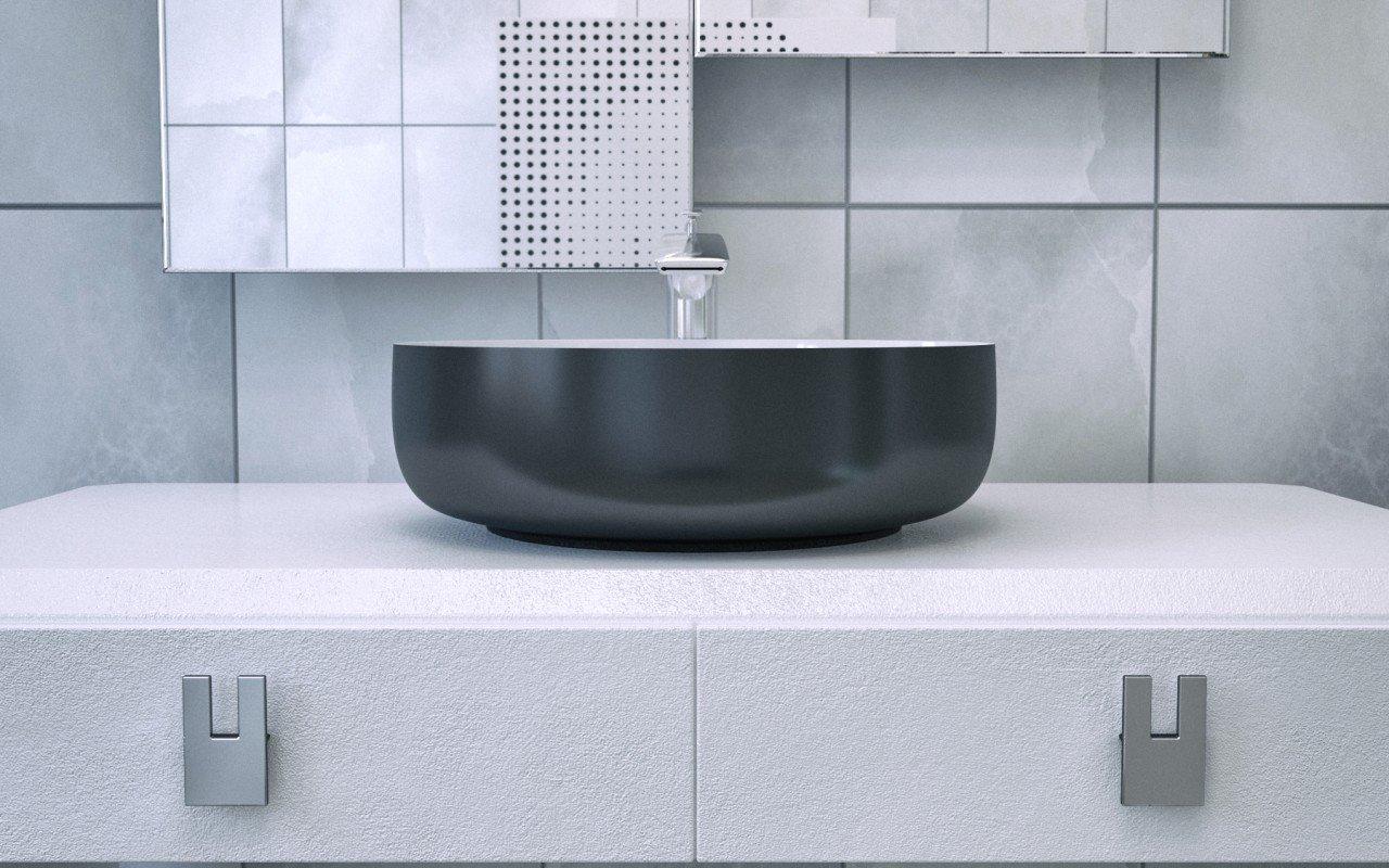 Metamorfosi Black Wht Round Ceramic Vessel Sink (2)