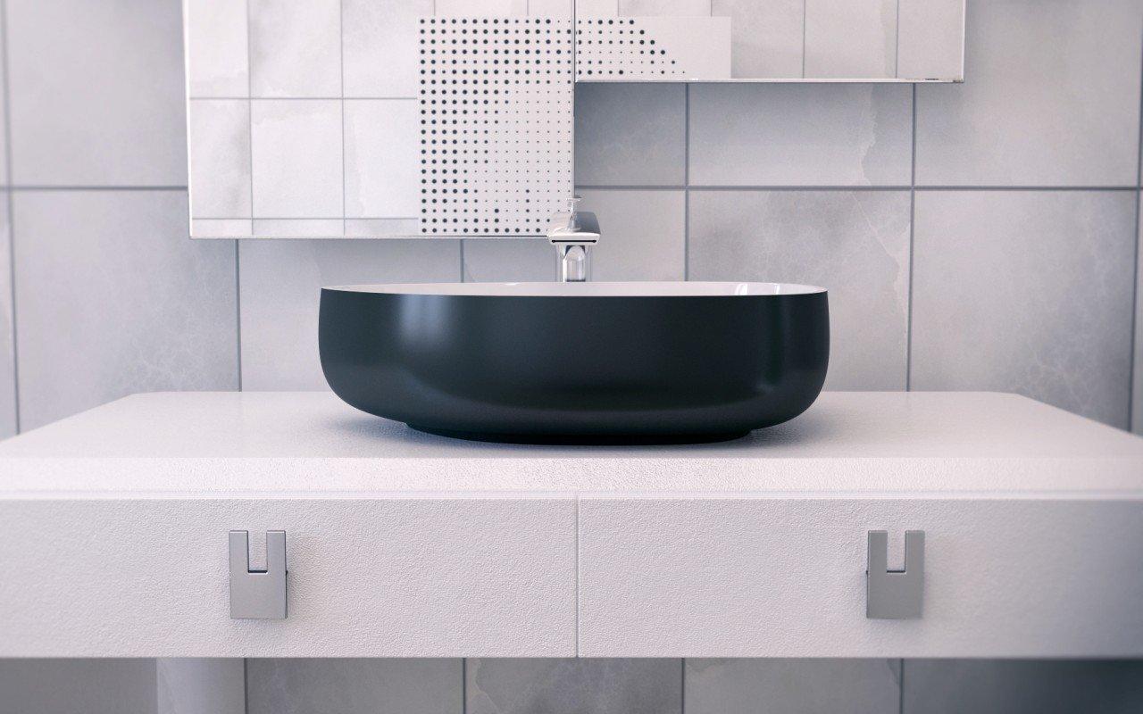 Metamorfosi Black Wht Shapeless Ceramic Bathroom Vessel Sink (2)