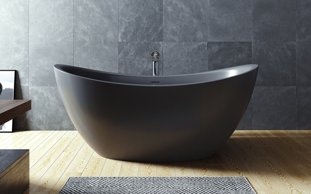 Aquatica Purescape 171 Black Freestanding Solid Surface Bathtub picture № 0