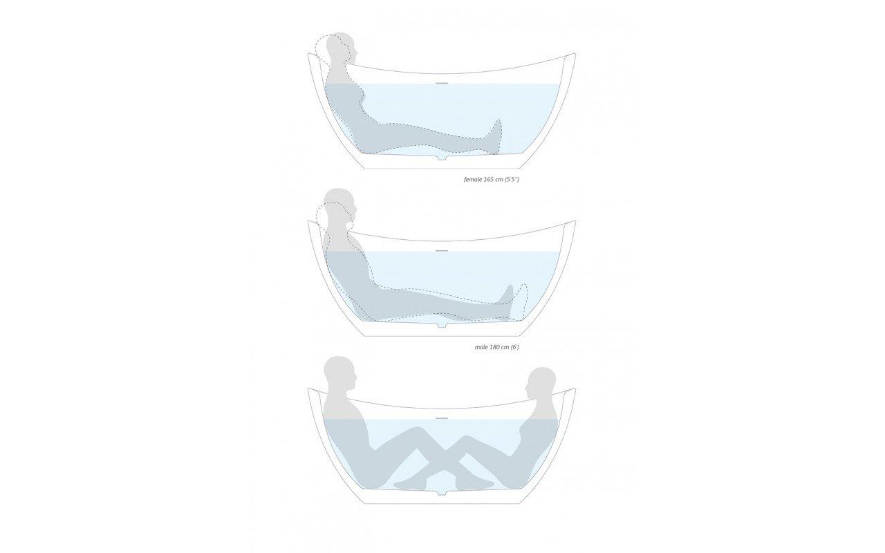 Purescape 171 Freestanding Stone Bathtub by Aquatica body position scheme web 02