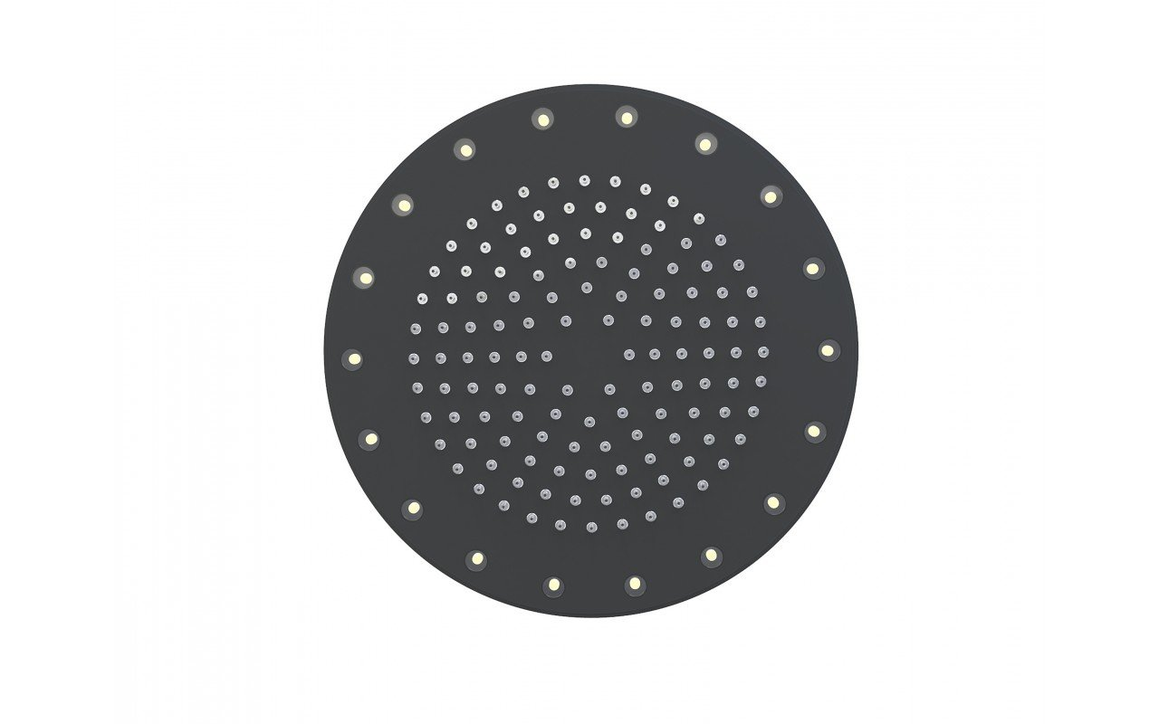 Rainbow Dynamic LED Round Shower Head Black Matte 3
