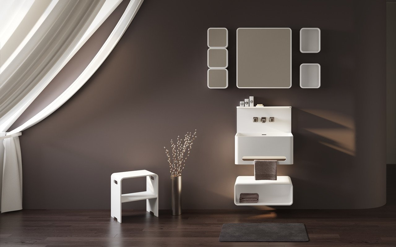 Aquatica Sola Solid Surface Bathroom Furniture Set picture № 0