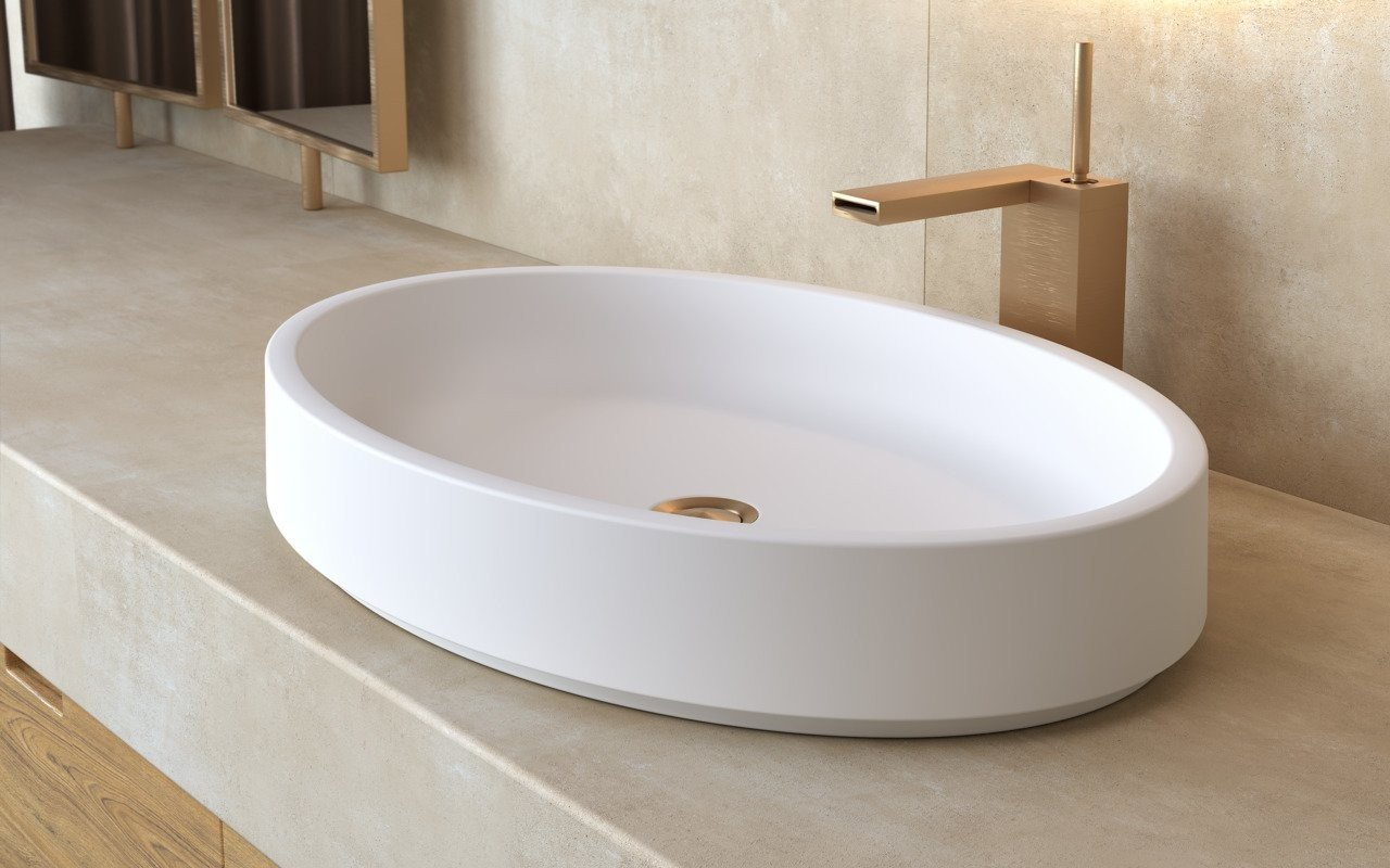 Aquatica Solace-Wht Oval Stone Bathroom Vessel Sink picture № 0