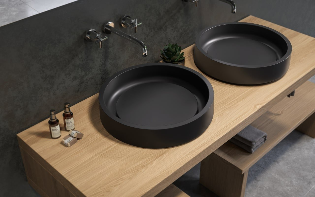 Aquatica Solace-A-Plus-Blck Round Stone Bathroom Vessel Sink picture № 0