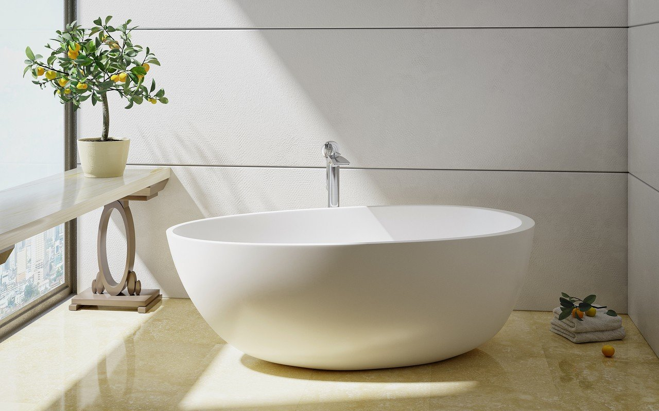 Aquatica Spoon 2 (Purescape 204AM) Egg Shaped Freestanding Solid Surface Bathtub picture № 0