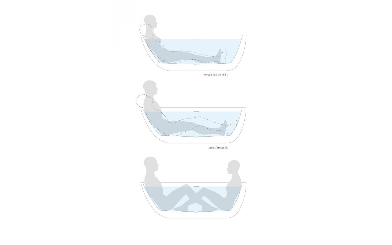 Spoon 2 Freestanding Stone Bathtub by Aquatica body position scheme 2 En web