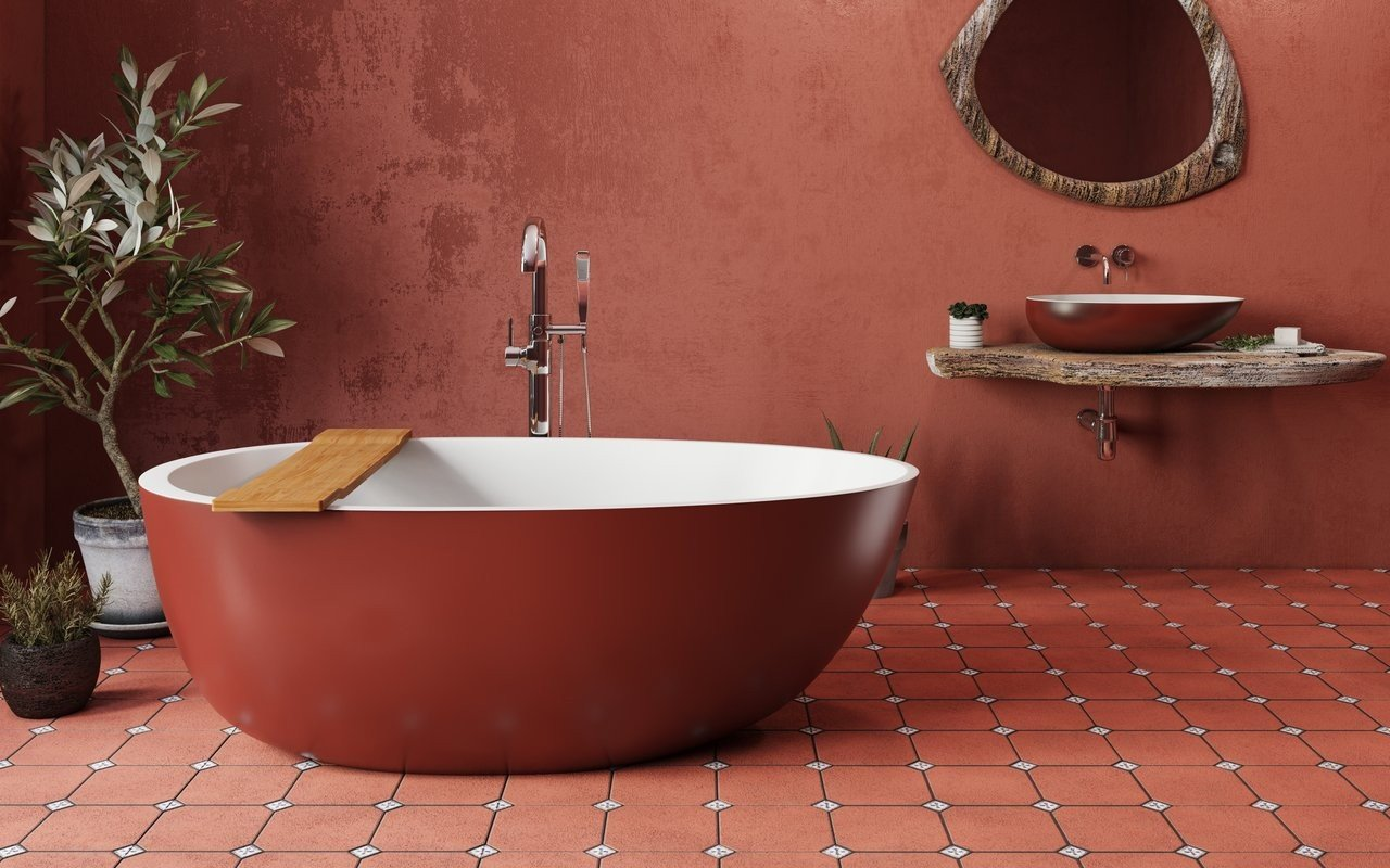 Aquatica Spoon 2 Egg Shaped Oxide Red-Wht Solid Surface Bathtub picture № 0