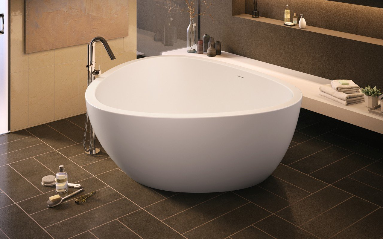 Trinity wht freestanding light weight cast stone bath fine matte by Aquatica 02 (web)