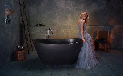 Purescape 748M Black Freestanding Stone Bathtub web