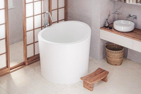 Aquatica True Ofuro Mini Freestanding Stone Japanese Soaking Bathtub 03