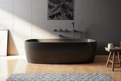Coletta black freestanding solid surface bathtub 01