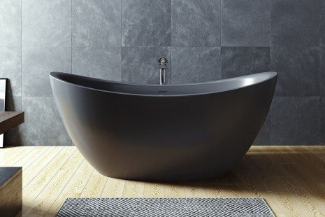 Purescape 171 Black Freestanding Slipper Bathtub 04