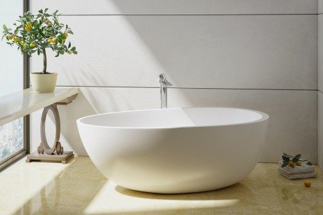 Spoon 2 Freestanding Solid Surface Bathtub by Aquatica 01