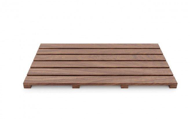 Aquatica Universal 33.5 Waterproof American Walnut Wood Bath Shower Floor Mat0