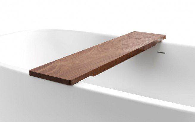 Aquatica Universal 36.25 Waterproof American Walnut Wood Bathtub Tray01web