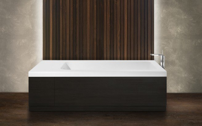 Pure 2d by aquatica back to wall stone bathtub with dark decorative wooden side panels 03 (web)