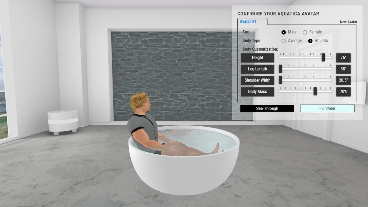 Adelina Bathtub 3D Body Position