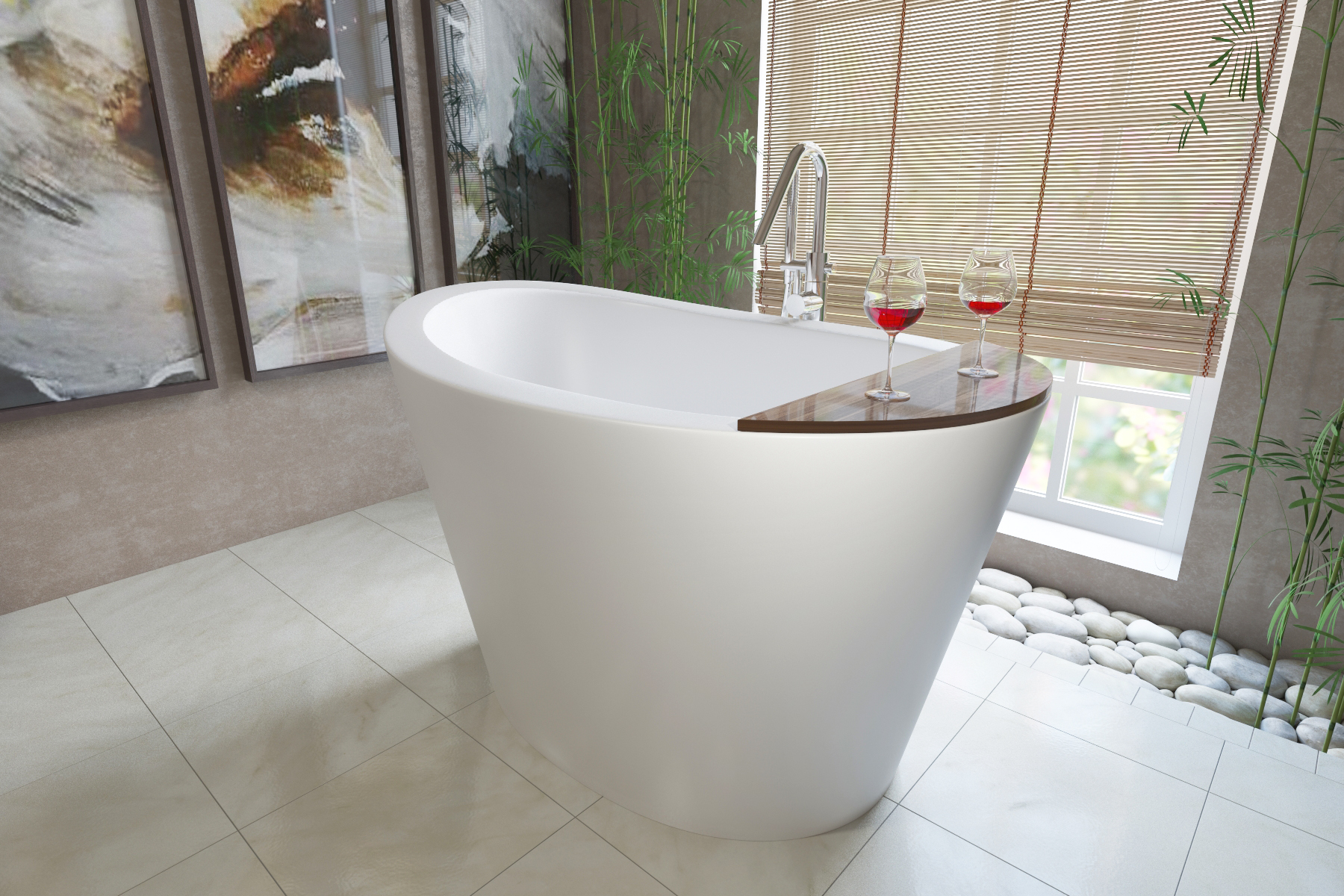 aquatica true ofuro freestanding stone japanese soaking bathtub -
