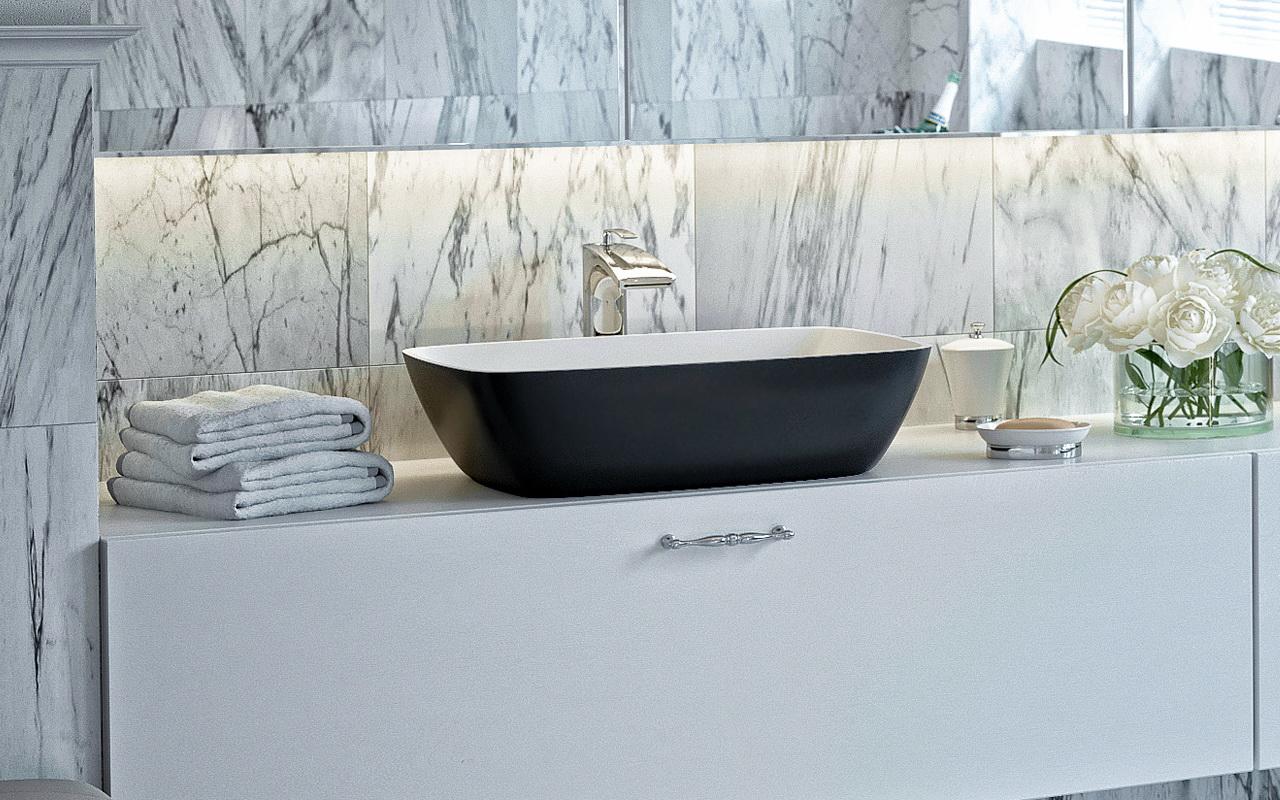 Vier de salle de bain arabella black par aquatica en for Evier de salle de bain en pierre