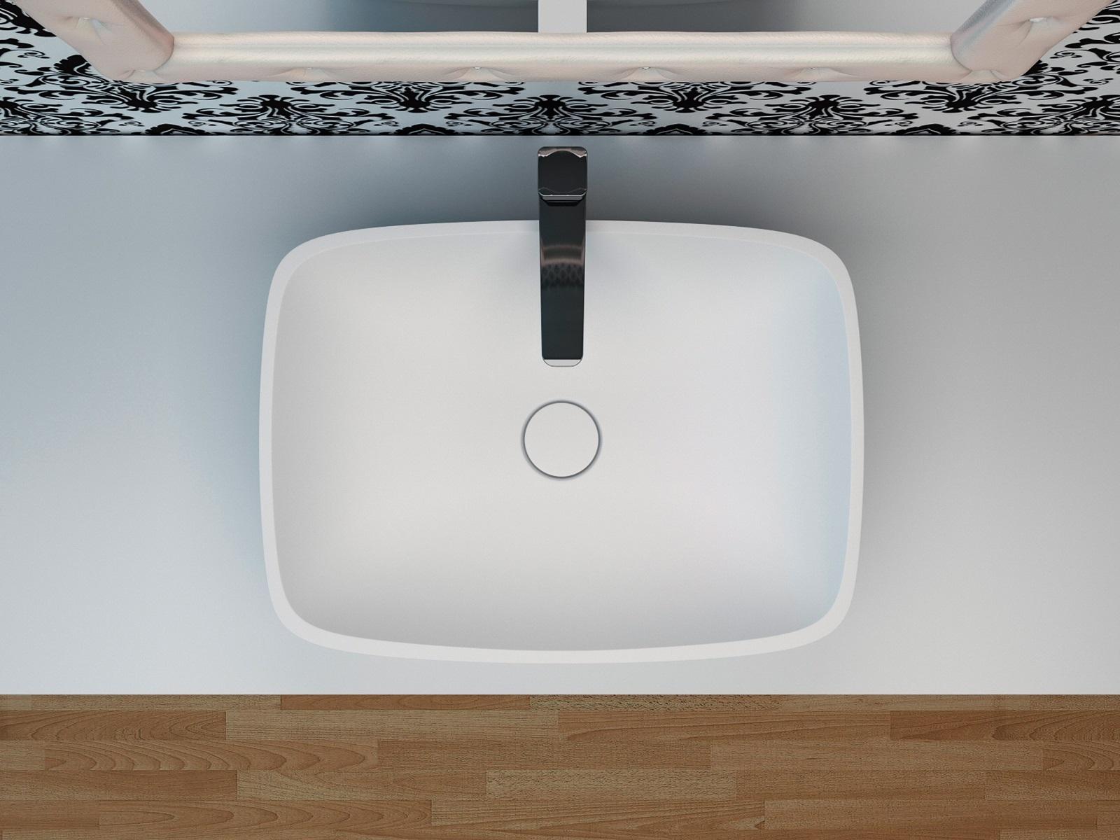 Vier de salle de bain arabella en pierre surface solide for Evier de salle de bain en pierre