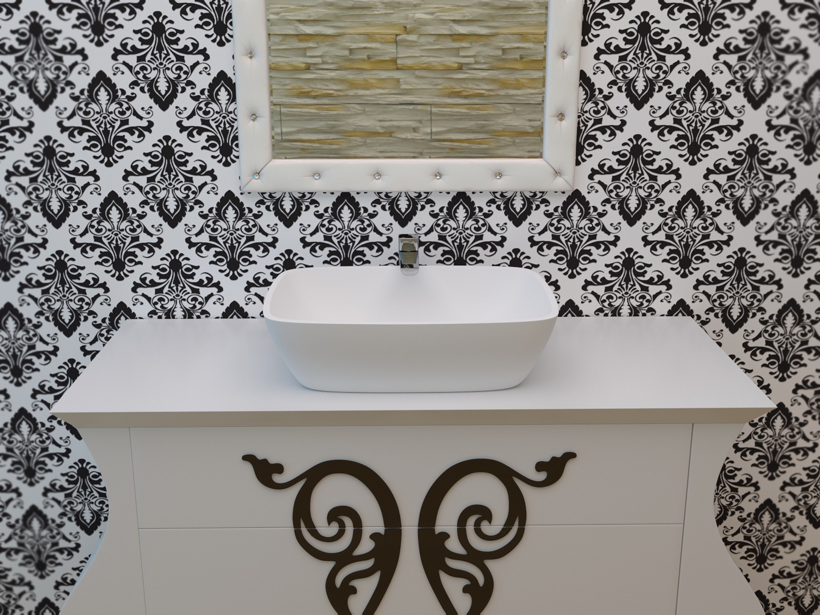 Vier de salle de bain arabella en pierre surface solide for Evier salle de bain en pierre