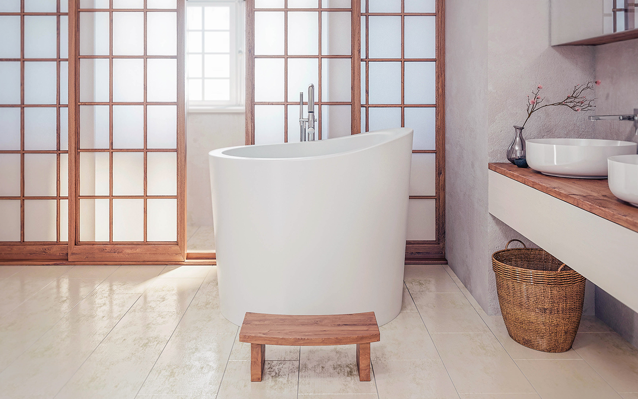 aquatica true ofuro mini freestanding stone japanese soaking bathtub -