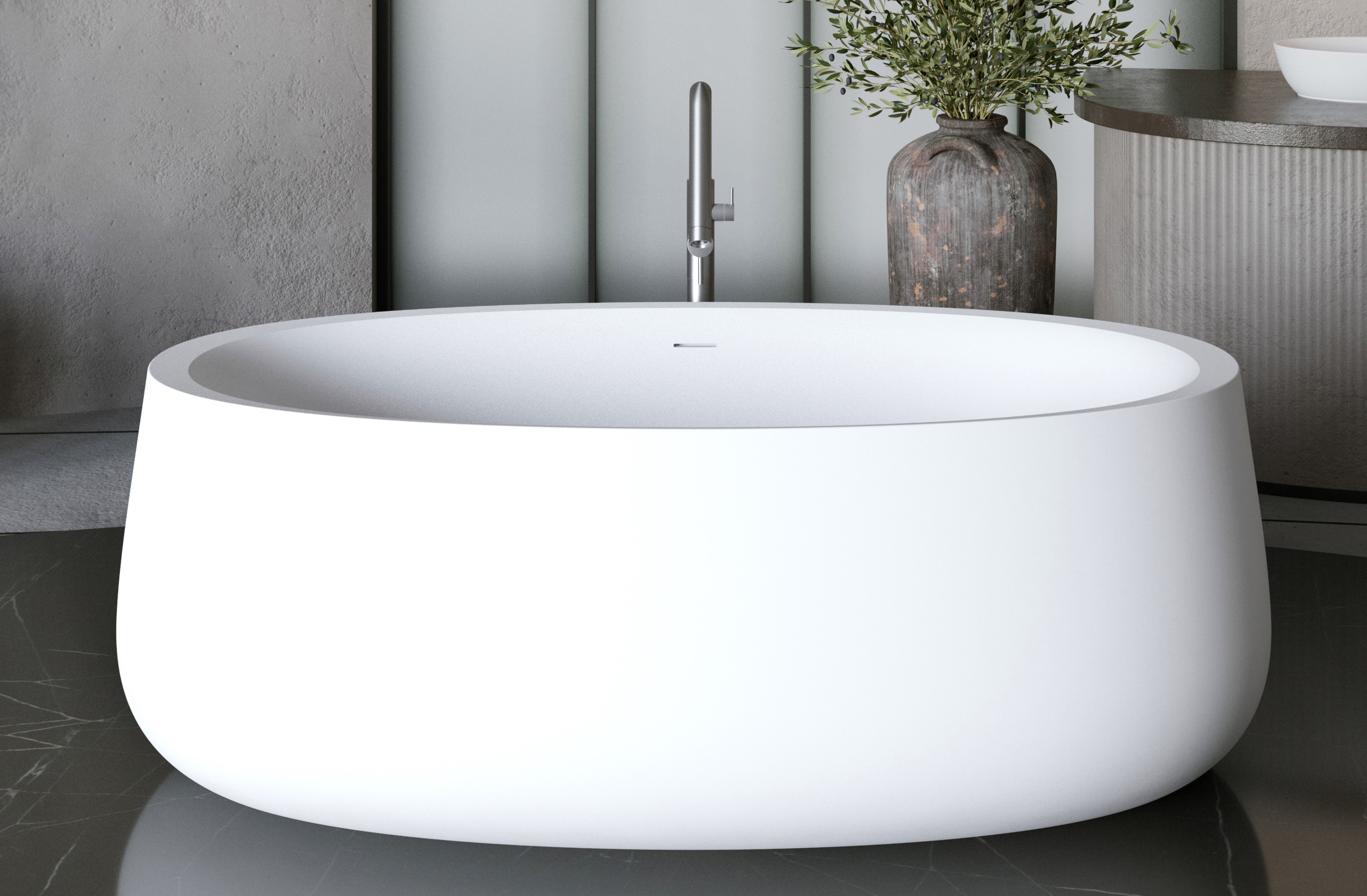 Aquatica Leah Freestanding Solid Surface Bathtub Snippet01