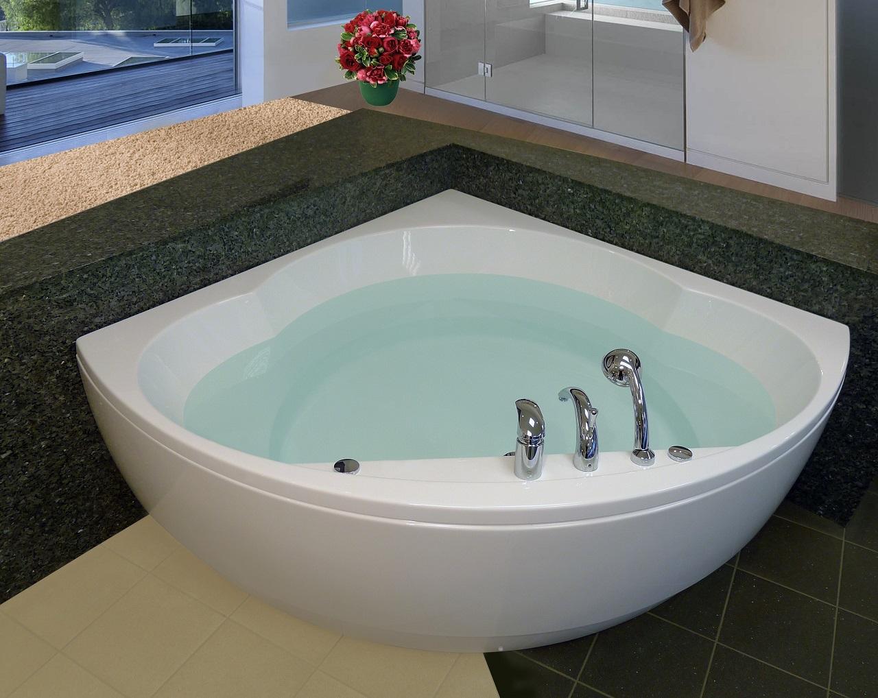 Cleopatra Corner Acrylic Bathtub by Aquatica web 1